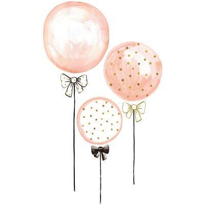 Sticker Ballons Rose A Pois Dores Flamingo By Lucie Bellion Stickers Enfant Ballon Rose Dessin Ballon