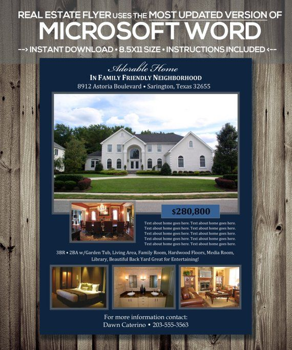 Real Estate Flyer Template Microsoft Word Docx Version Home Listing Instant
