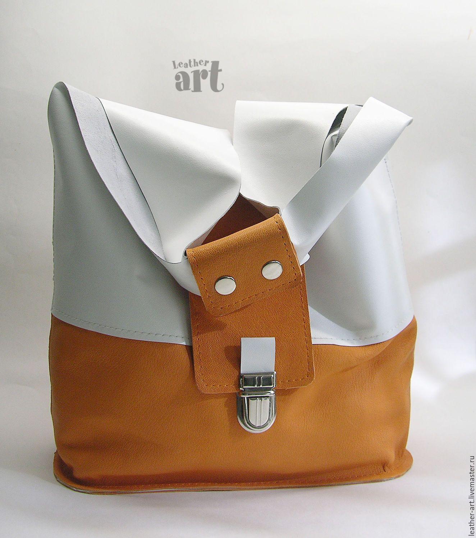 764f6774eb7c Купить Кожаная сумка-мешок Летняя - белый, оригинальная сумка, женская сумка,  кожа натуральная
