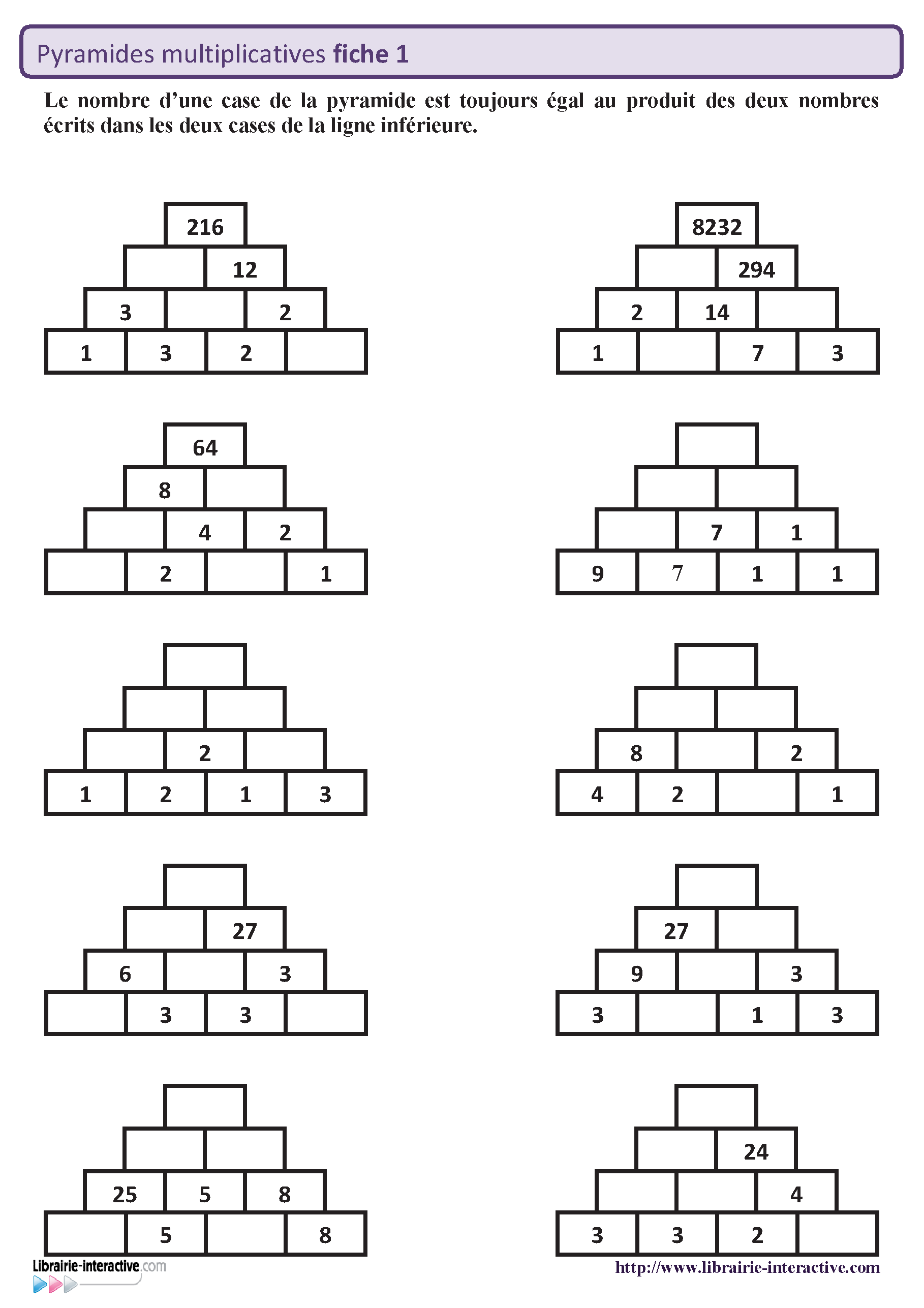 50 pyramides multiplicatives sur 5 fiches autocorrectives - Calcul mental table de multiplication ...