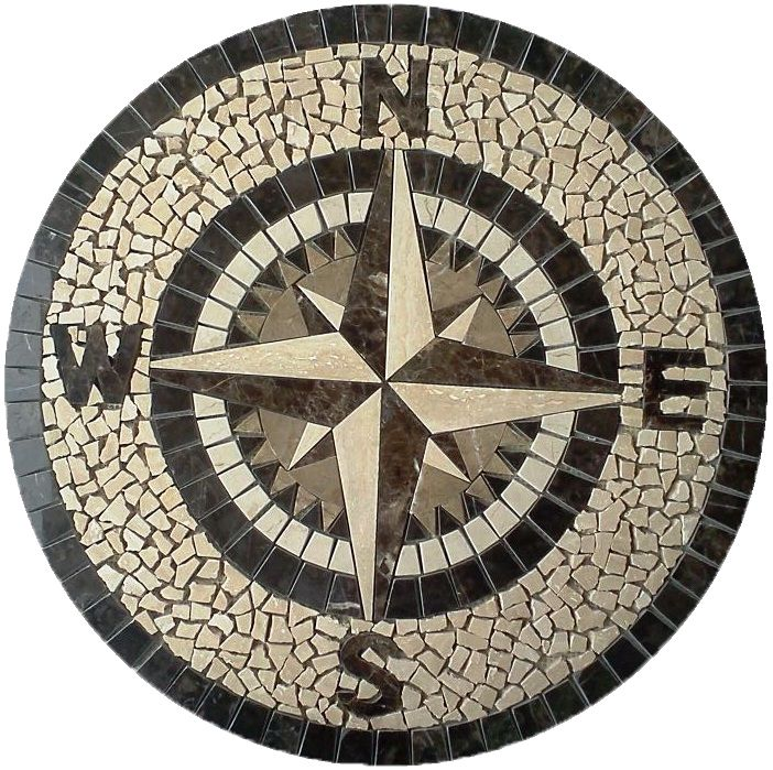 marble medallion compass rose custom