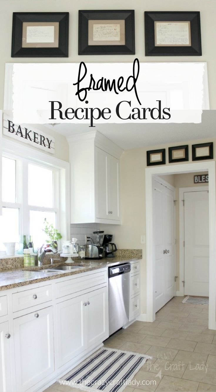 Framed Recipe Cards Framed Recipes Home Decor Kitchen Kitchen Wall Decor Decorative pictures for kitchen