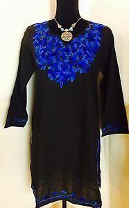 Women 100 Cotton Kurti Kurta Tunic Dress Top Hand Embroidered Black Size XL   eBay