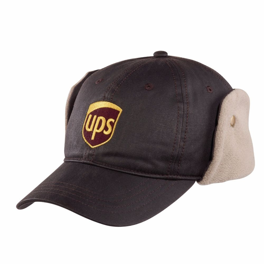 89f62aa36fc UPS LOGO UNITED PARCEL SVC HAT Cold Weather Fleece Lined Cap EarFlaps Brass  Snap  ups  CapwithEarFlaps