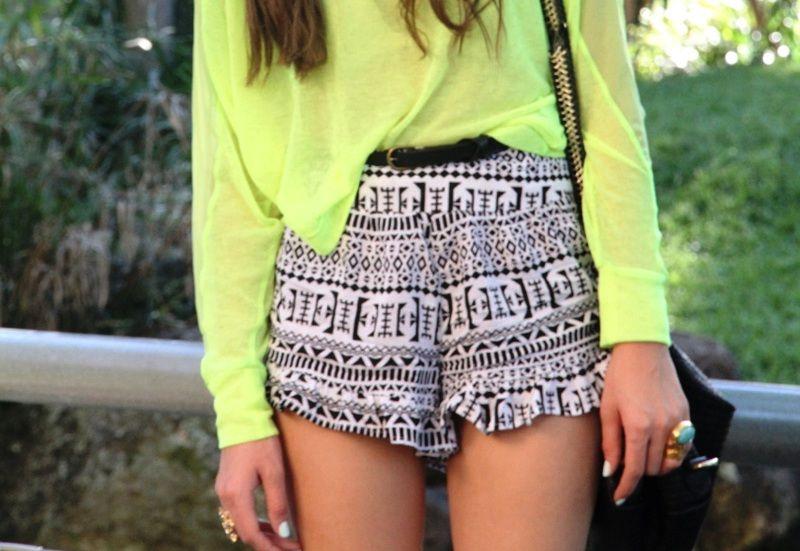 Neon top + print shorts