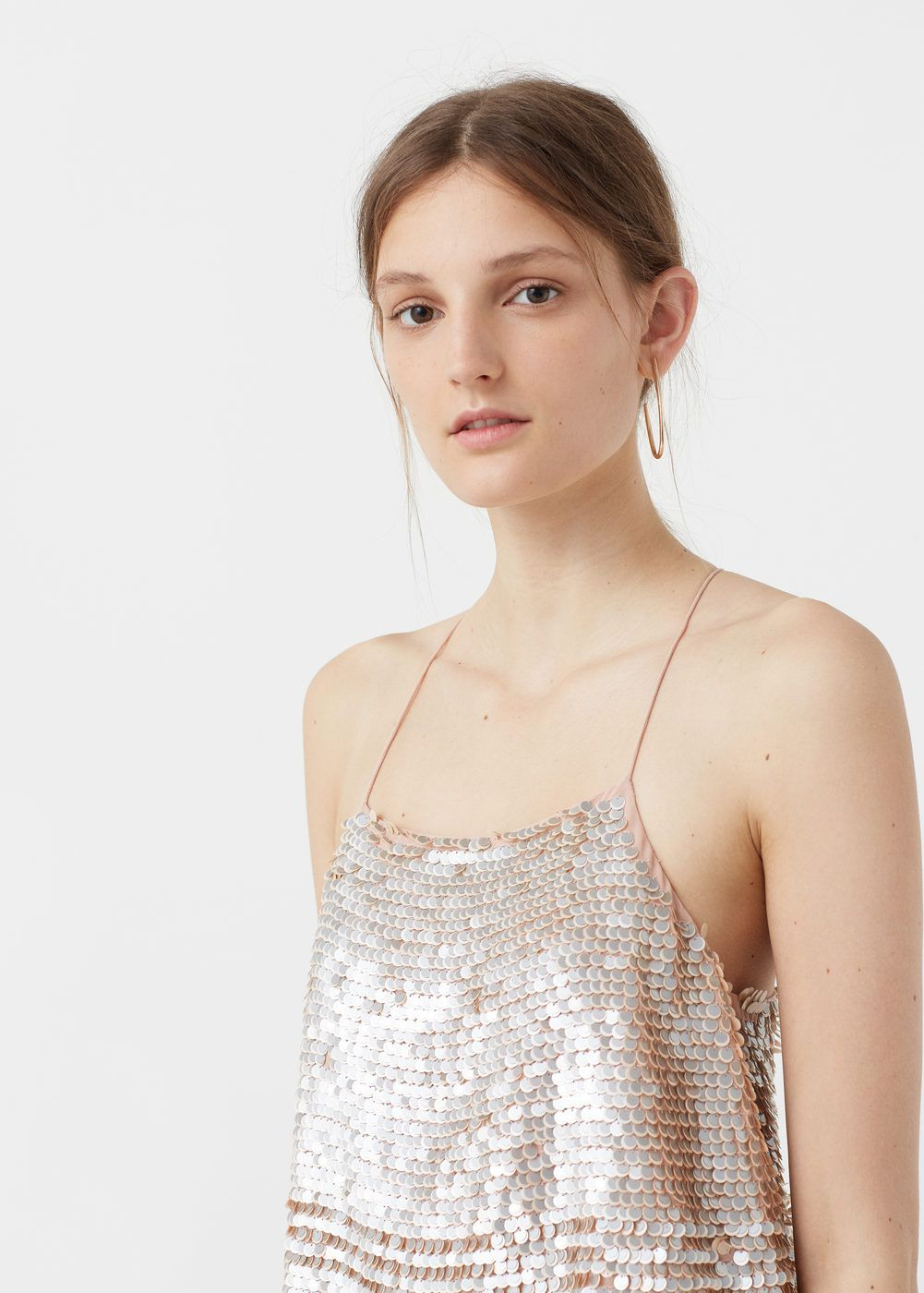 bab8fd5146 Sequined strap top - Women in 2019 | want soon | Tops, Gold sequin ...
