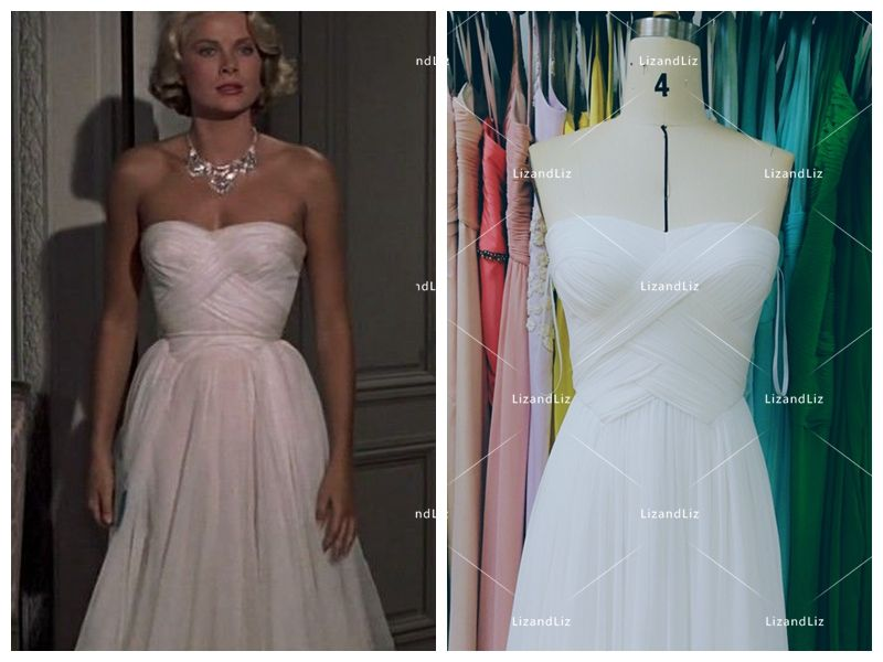 Grace Kelly White Strapless Chiffon Celebrity Dress in Movie