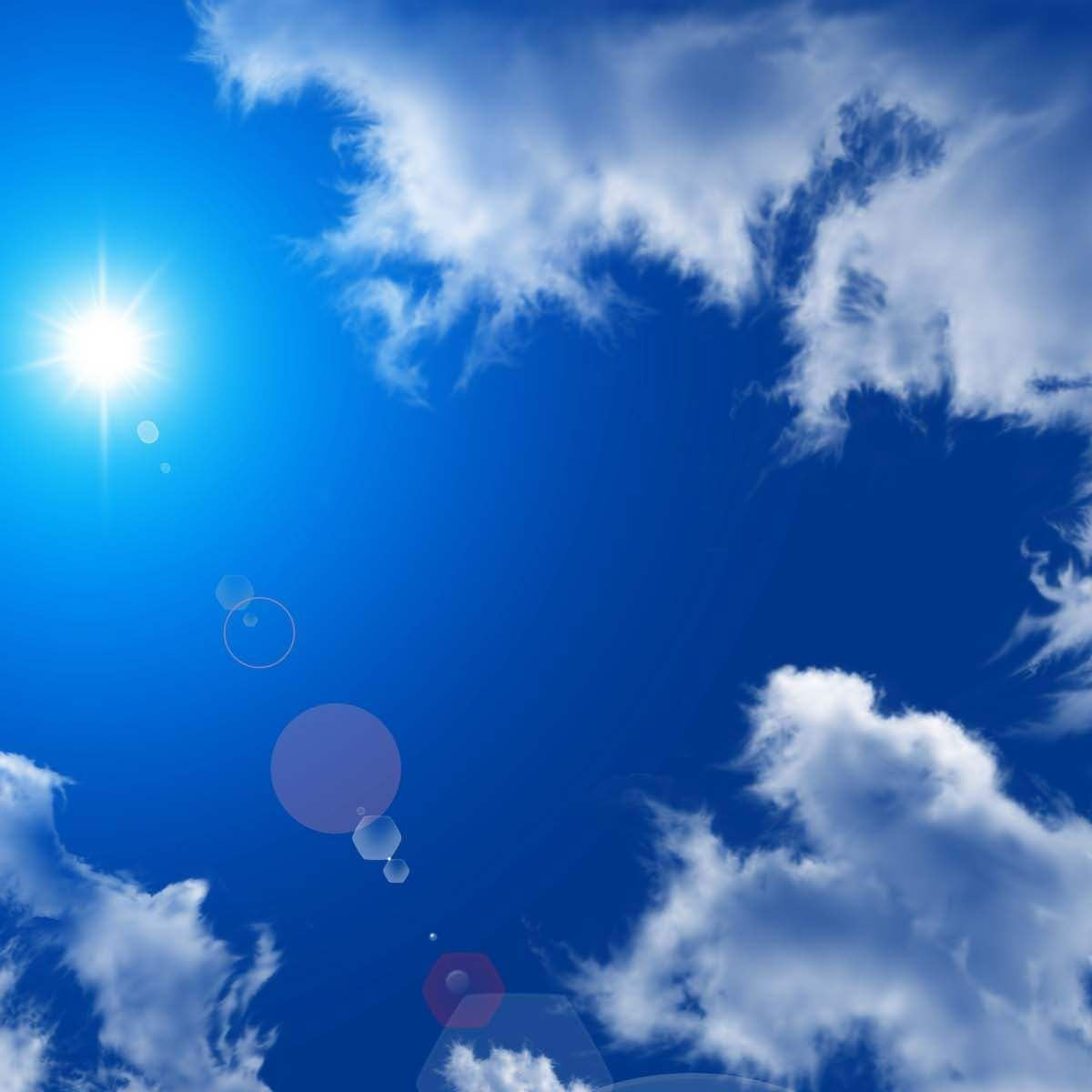 Gorgeous Bright Blue Sky With Shining Sun And White Clouds Blue