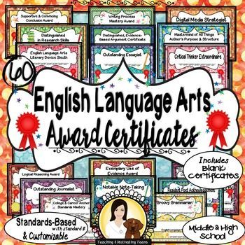 End of the Year Awards English Language Arts Certificates, Middle - school certificates pdf