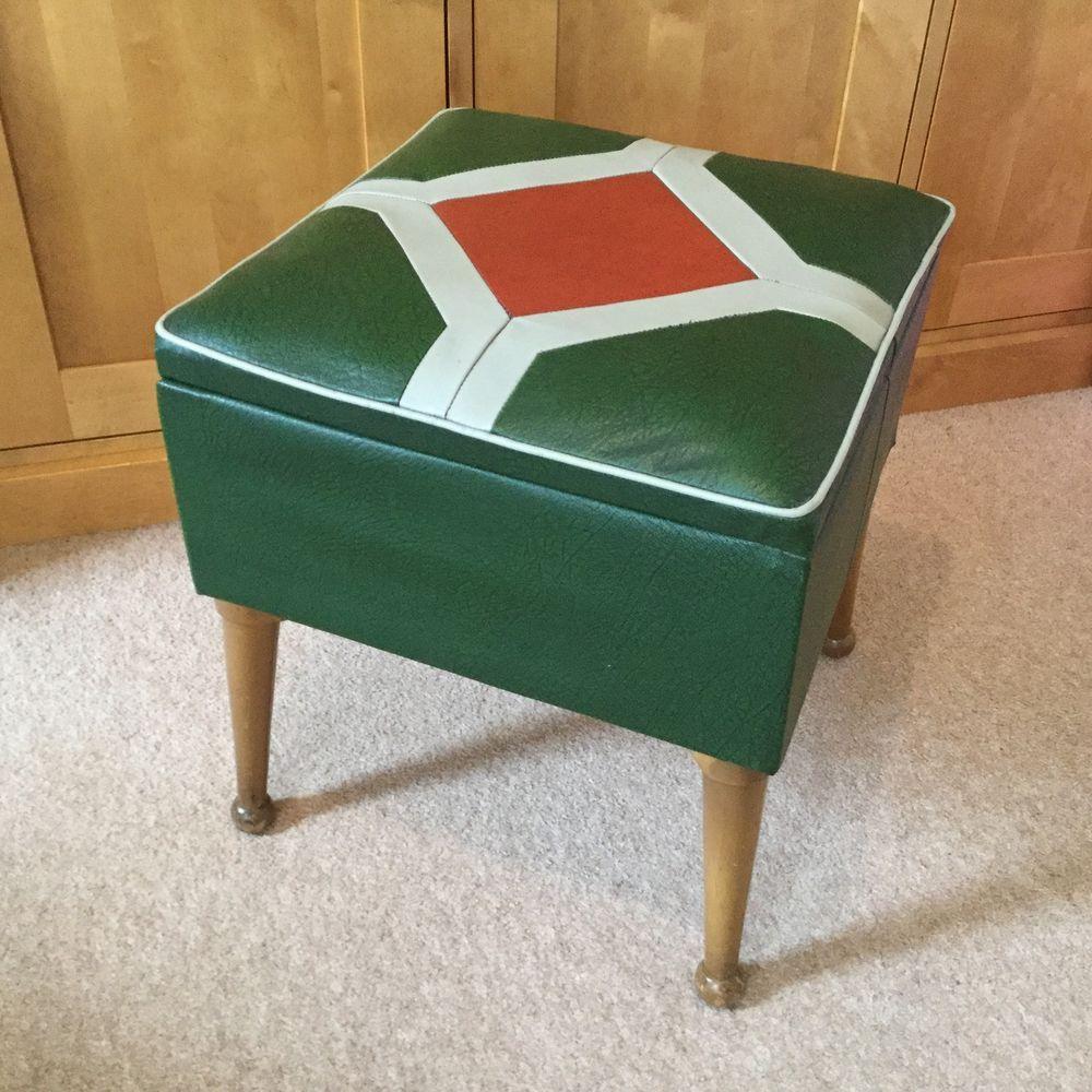 s vintage retro foot stool pouffe footstool sewing box dansette legs