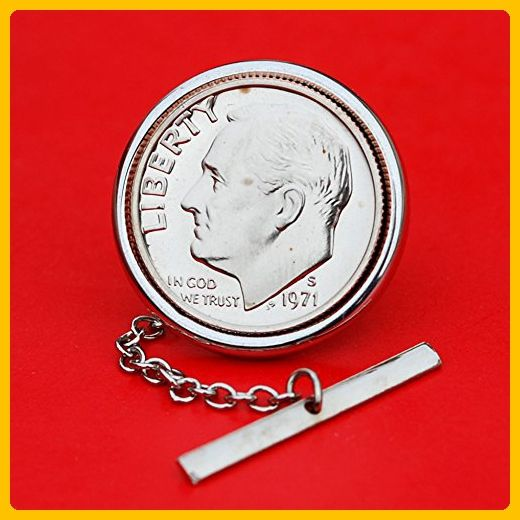 US 1971 Roosevelt Dime Gem Bu Uncirculated 10 Cent Coin Silver Plated Tie Tac Tack Pin NEW - Groom cufflinks and tie clips (*Amazon Partner-Link)