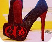 Harley quinn and batman house divided red and black glitter heels handmade by Crystalcleatss Take $10 off with coupon code PINNED 10