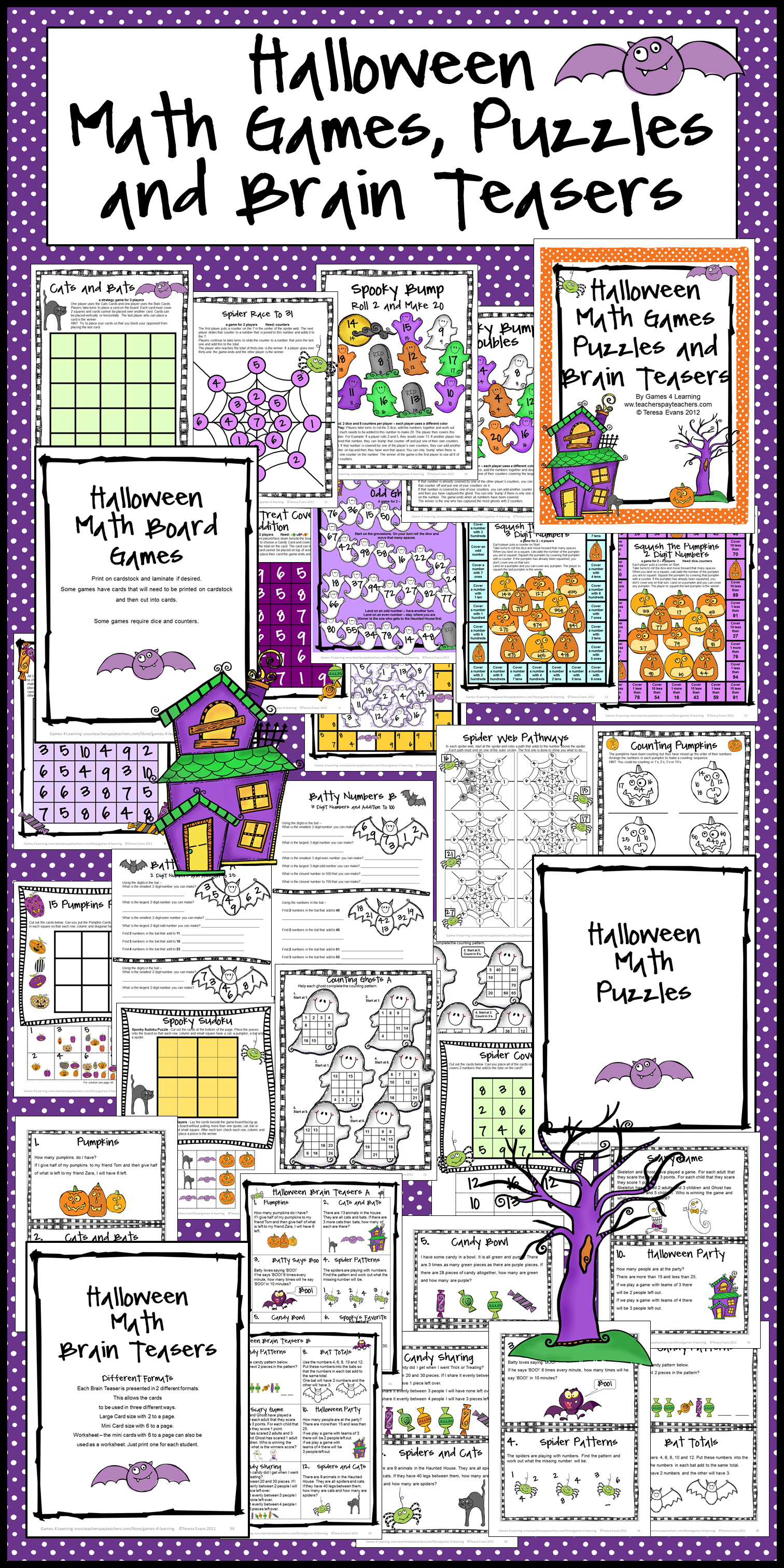 Halloween Math Worksheets Games Puzzles And Brain