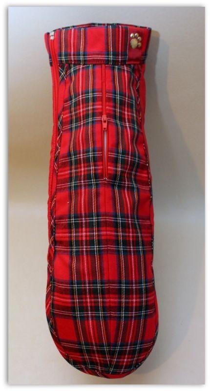 The Dachshund Shop - The Dachshund Shop Sale - Medium Bespoke - Red Tartan Puppichic Coat