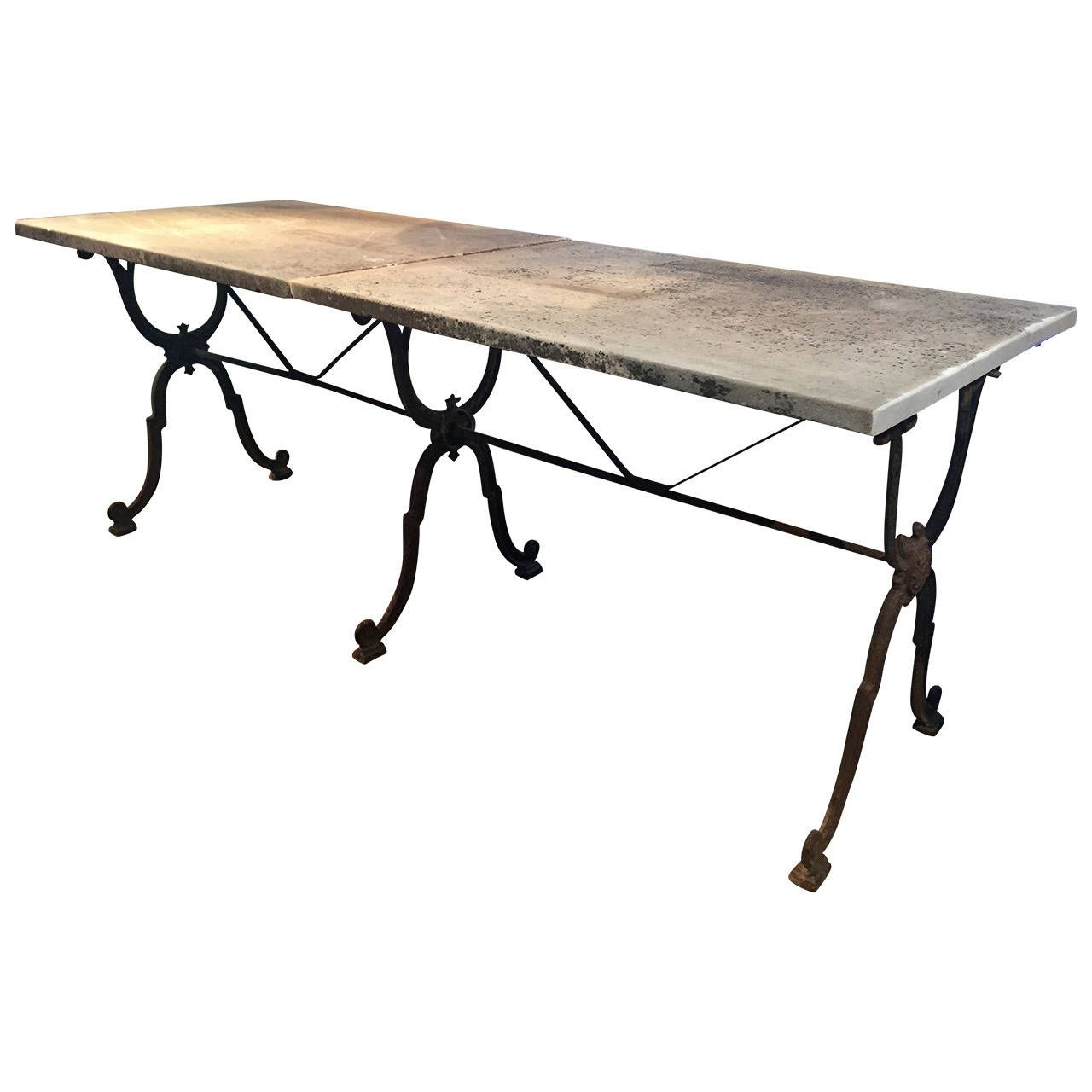 Signed 19th Century Long French Cast Iron Dining Table With Marble