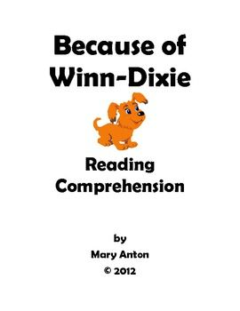 Because of Winn Dixie Novel Study Comprehension Questions