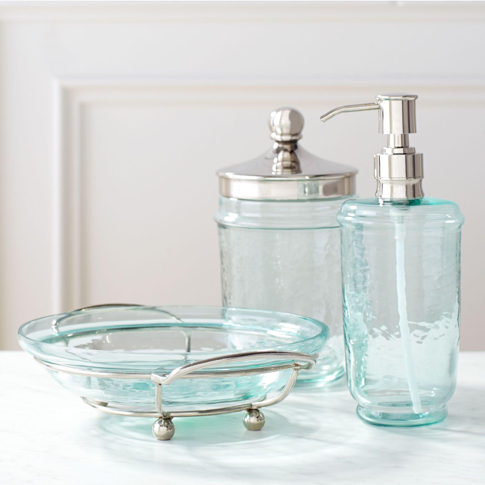 Blau Und Lila Bad Accessoires Glas Badezimmer