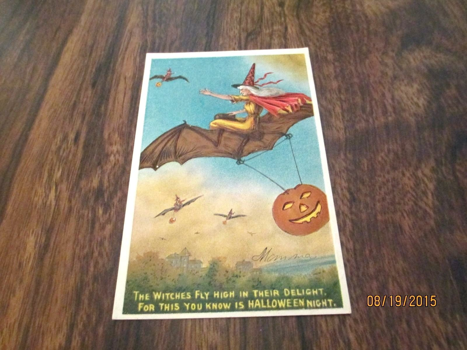 vintage halloween postcard witch bats pumpkin vintage postcard halloween card ebay