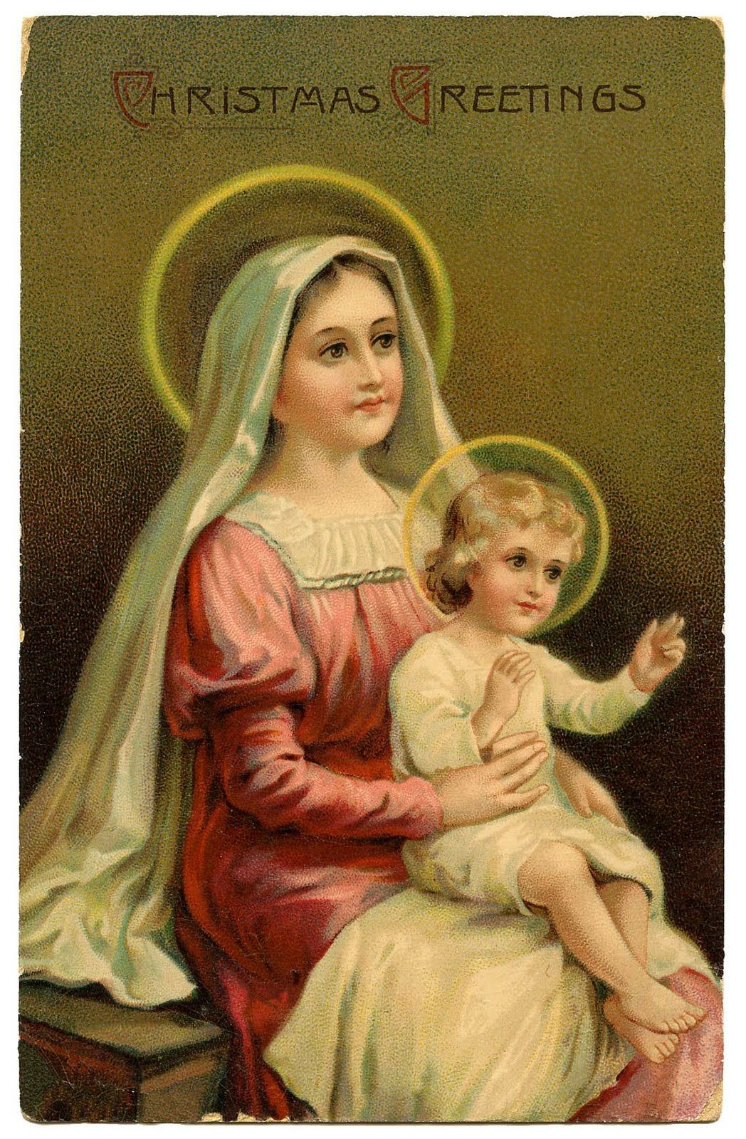Vintage Christmas Graphic Image - Madonna & Child - The Graphics Fairy