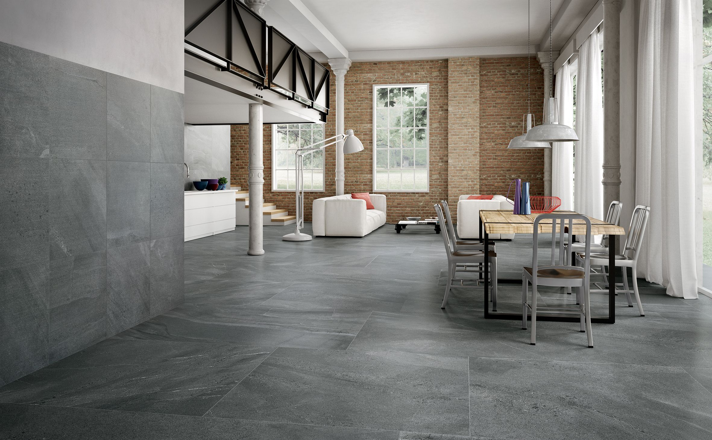Open space architecture and minimalist design are protagonist of Portraits - Kirkby inspiration. #kirkby #england #liverpool #interiordesign #minimalism #architecture #design #surfaces #stone #inspirations #ceramichecaesar #caesarceramics #livingroom #kit