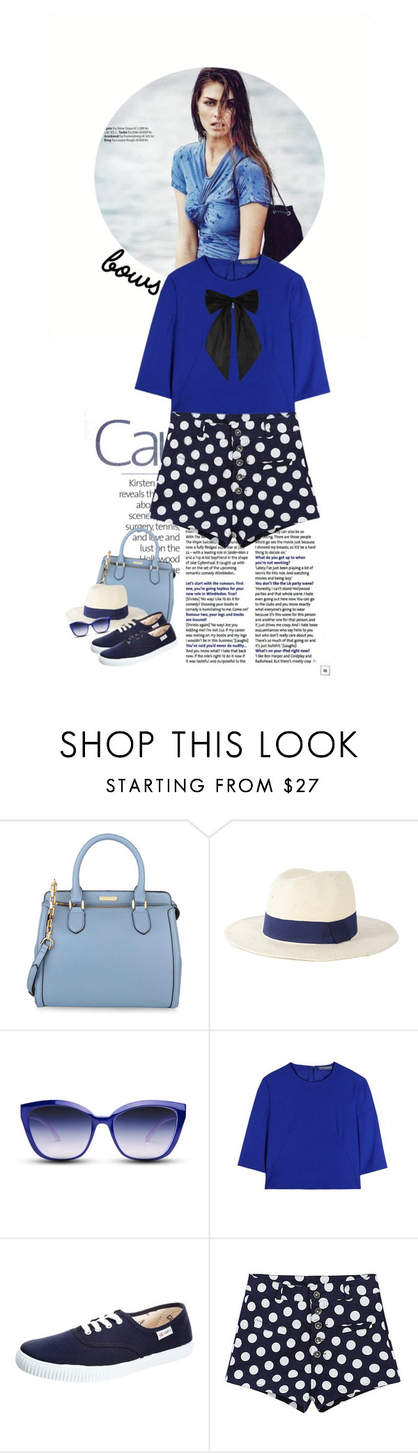 """Blue ."" by doris-knezevic ❤ liked on Polyvore featuring CHARLES & KEITH, Michael Stars, GlassesUSA, Alexander McQueen, Victoria Shoes and Oscar de la Renta"