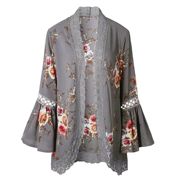 2611e56536 Floral Cardigan With Lace Detail And 3 4 Length Bell Sleeves ...