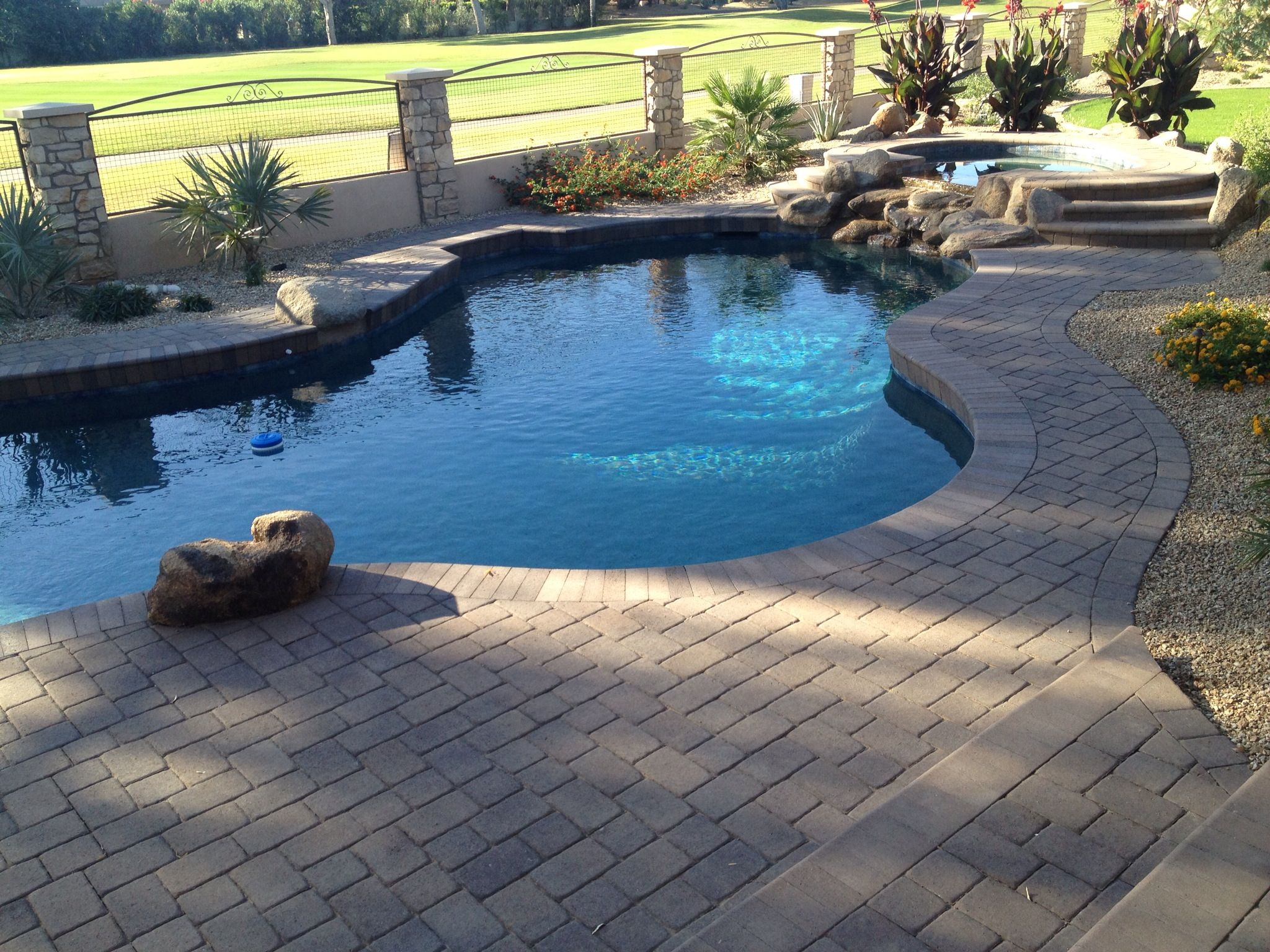 Simple Golf Course View Pool With Beautiful Pavers & Bullnose