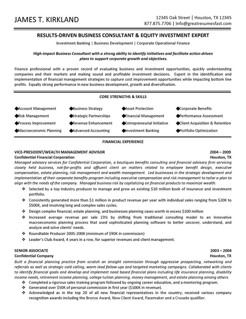 Professional resume management consulting – Management Consulting Resume Example