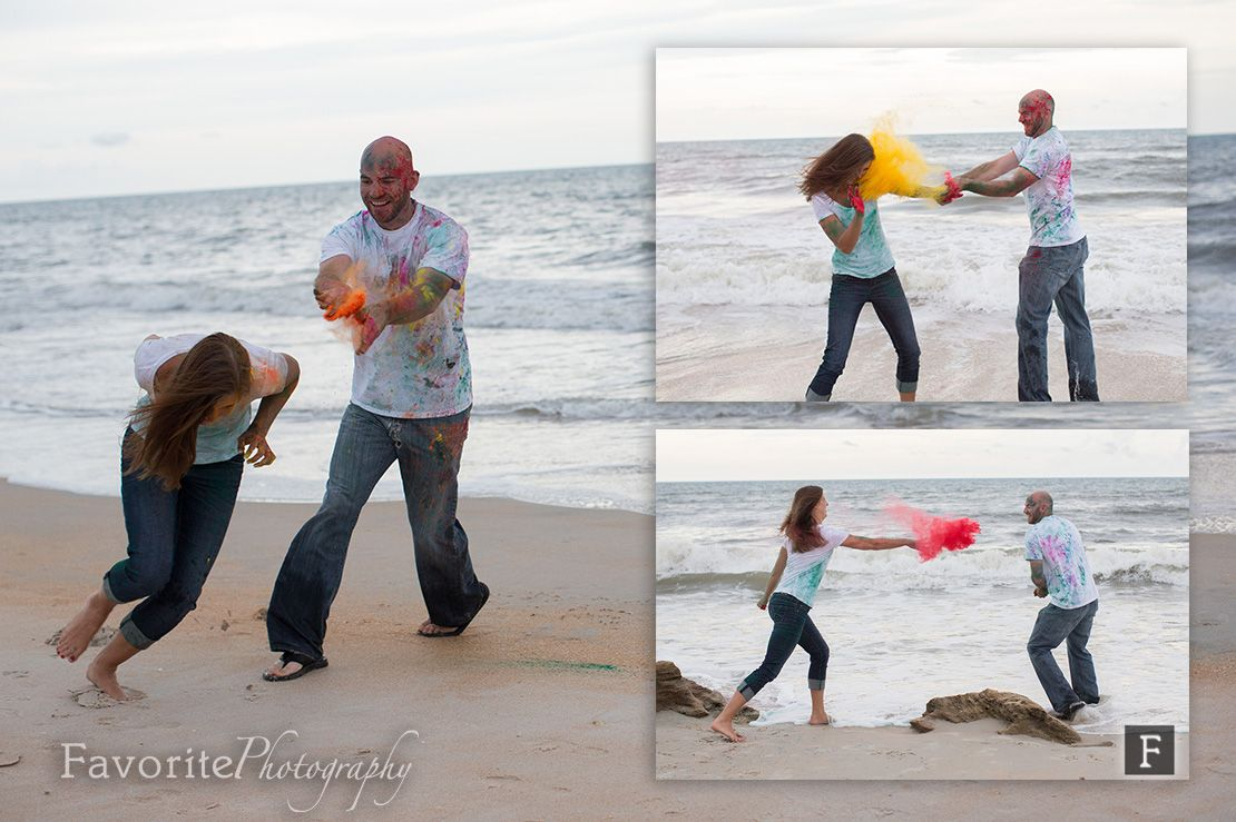 Candid Engagement Photos | Holi Powder on Beach | © Favorite Photography