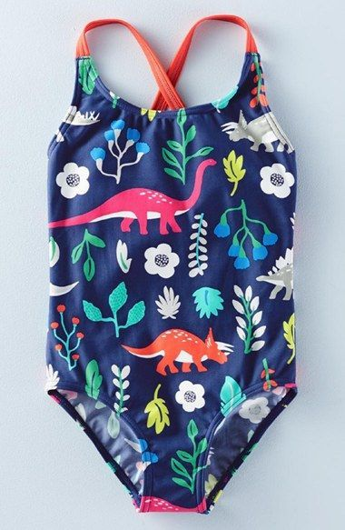 b73b41a85e Mini Boden Floral Dinosaur Swimsuit | Kids: Little Girl Clothes ...