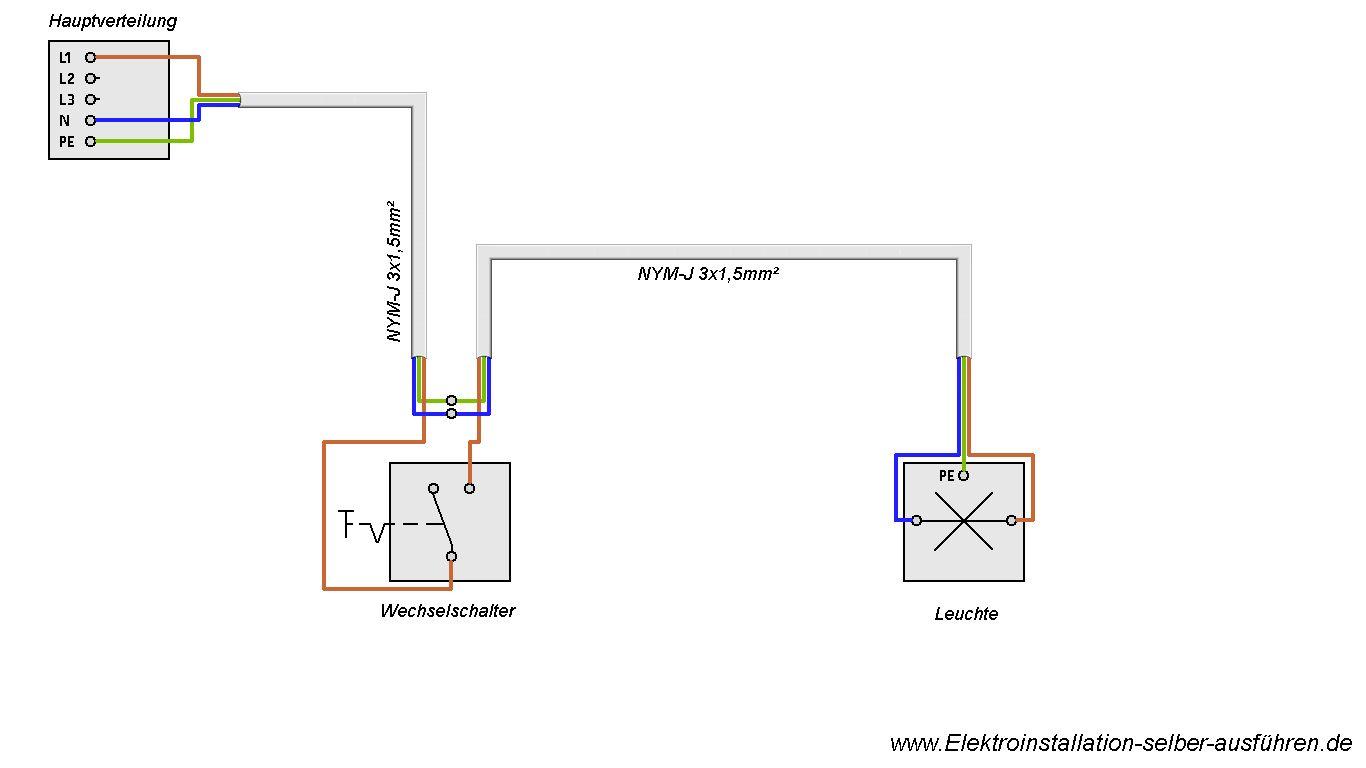 Schaltplan einer Ausschaltung mit einer Lampe | Elektrische ...