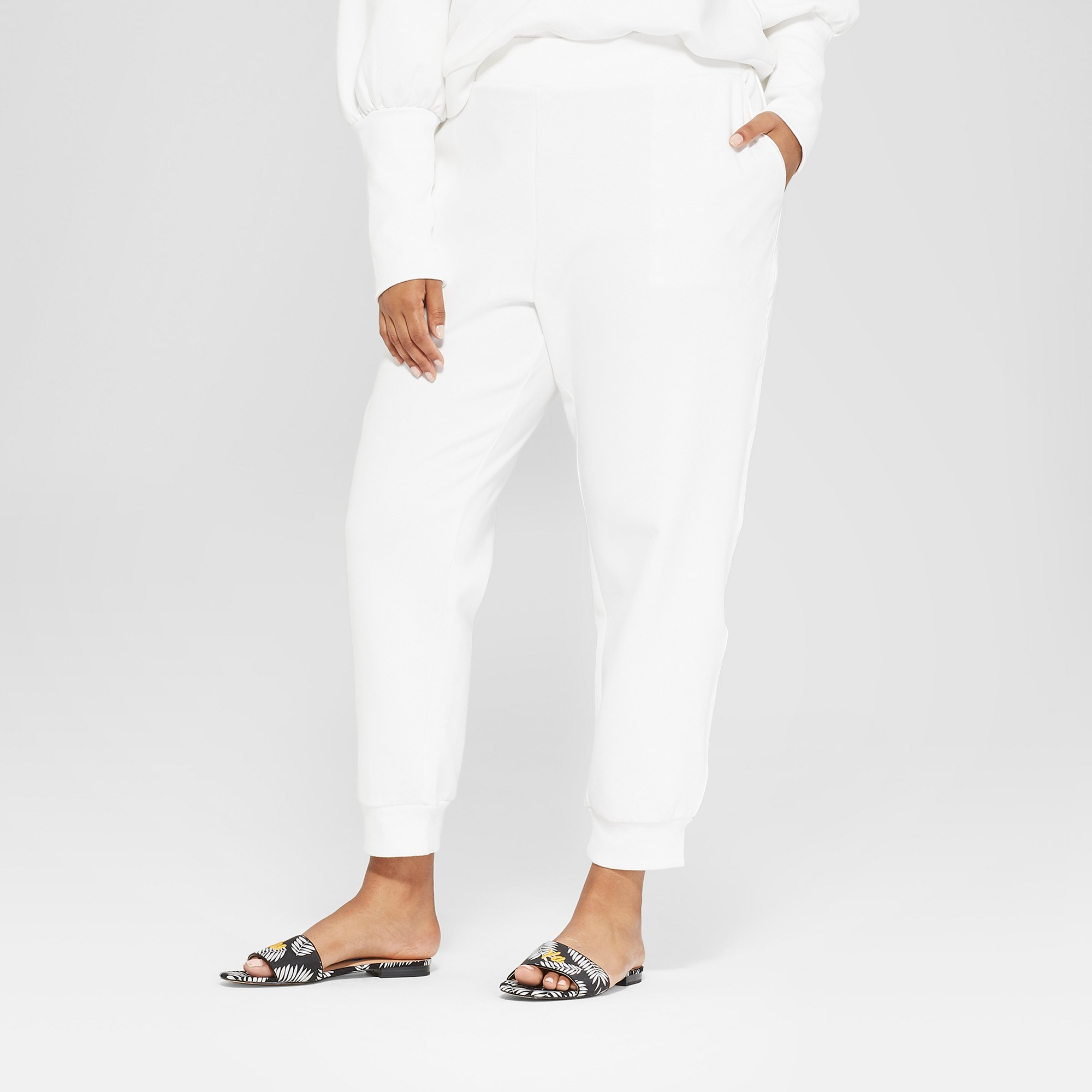 9e1b8ebc648 Women s Plus Size Pull On Track Ankle Pants - Who What Wear White 2X ...