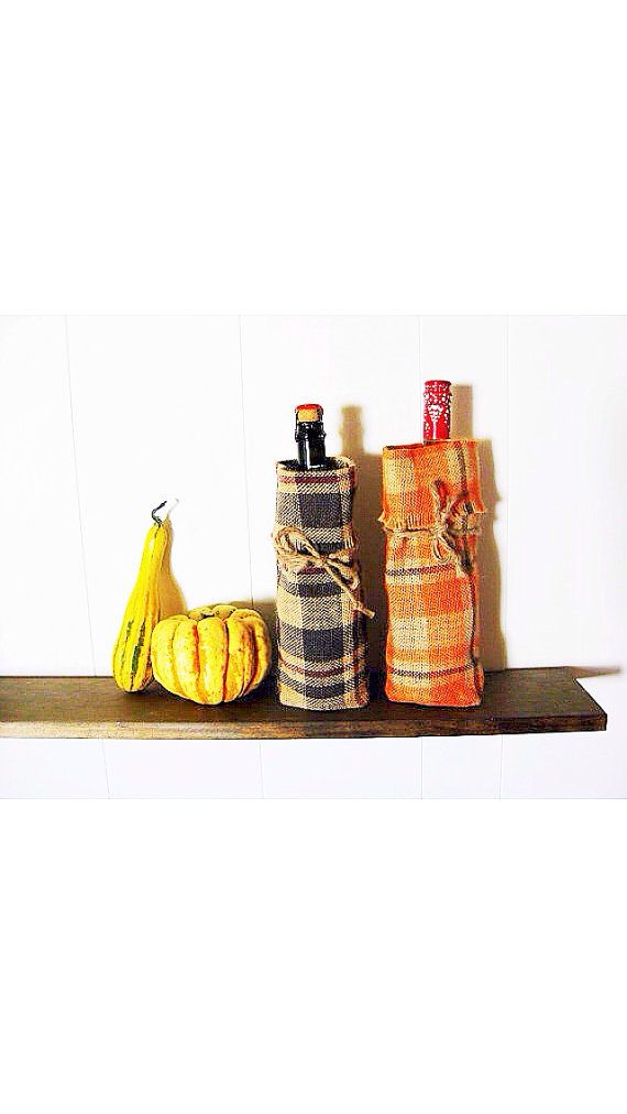 LOVE, burlap ♥ Burlap Thanksgiving Plaid Wine Bag  -- a great gift item -- 2 color options available and monogramming is an option! ♥  https://www.etsy.com/shop/loveburlap