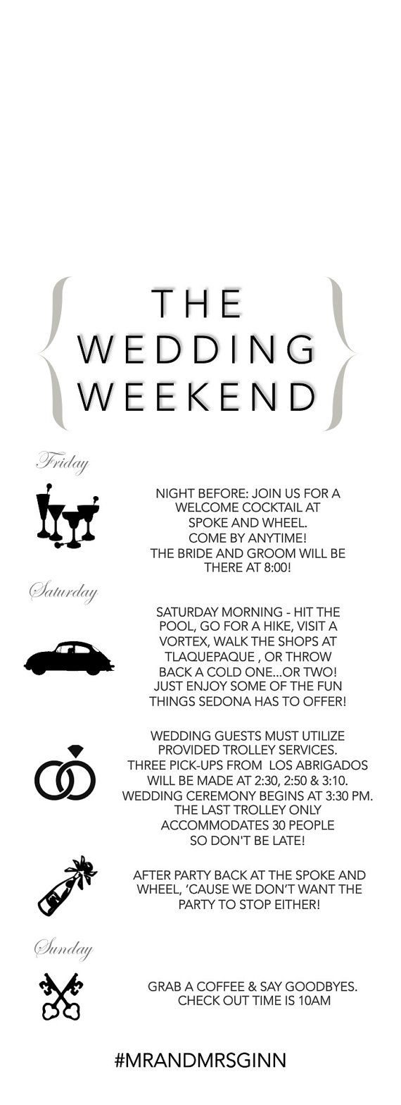 Wedding Door Hanger Wedding Itinerary Wedding Weekend by