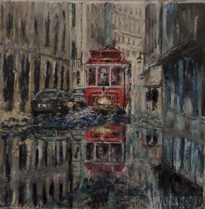Дождливый день в 2020 г | Краска, Городской пейзаж, Картины  Дождливый Город Картина