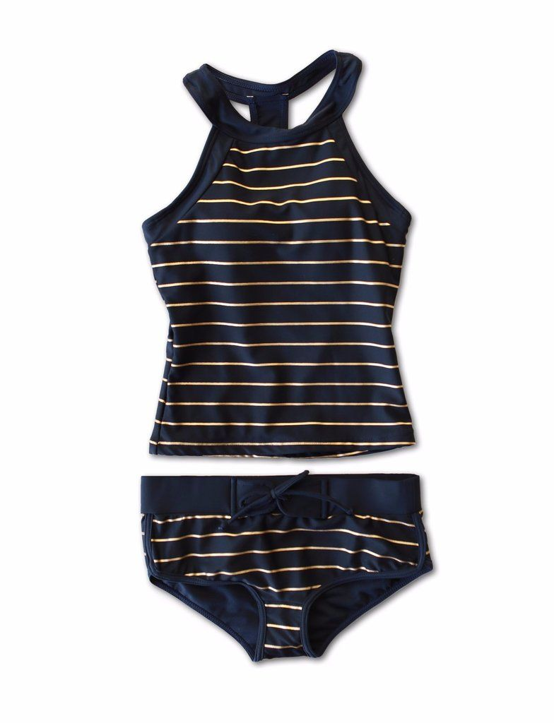 6ee4b465c3 Navy and gold sporty tankini that is the most comfortable swimsuit ever.  Modest two-piece for women and Tweens alike. Shiny gold. high quality.
