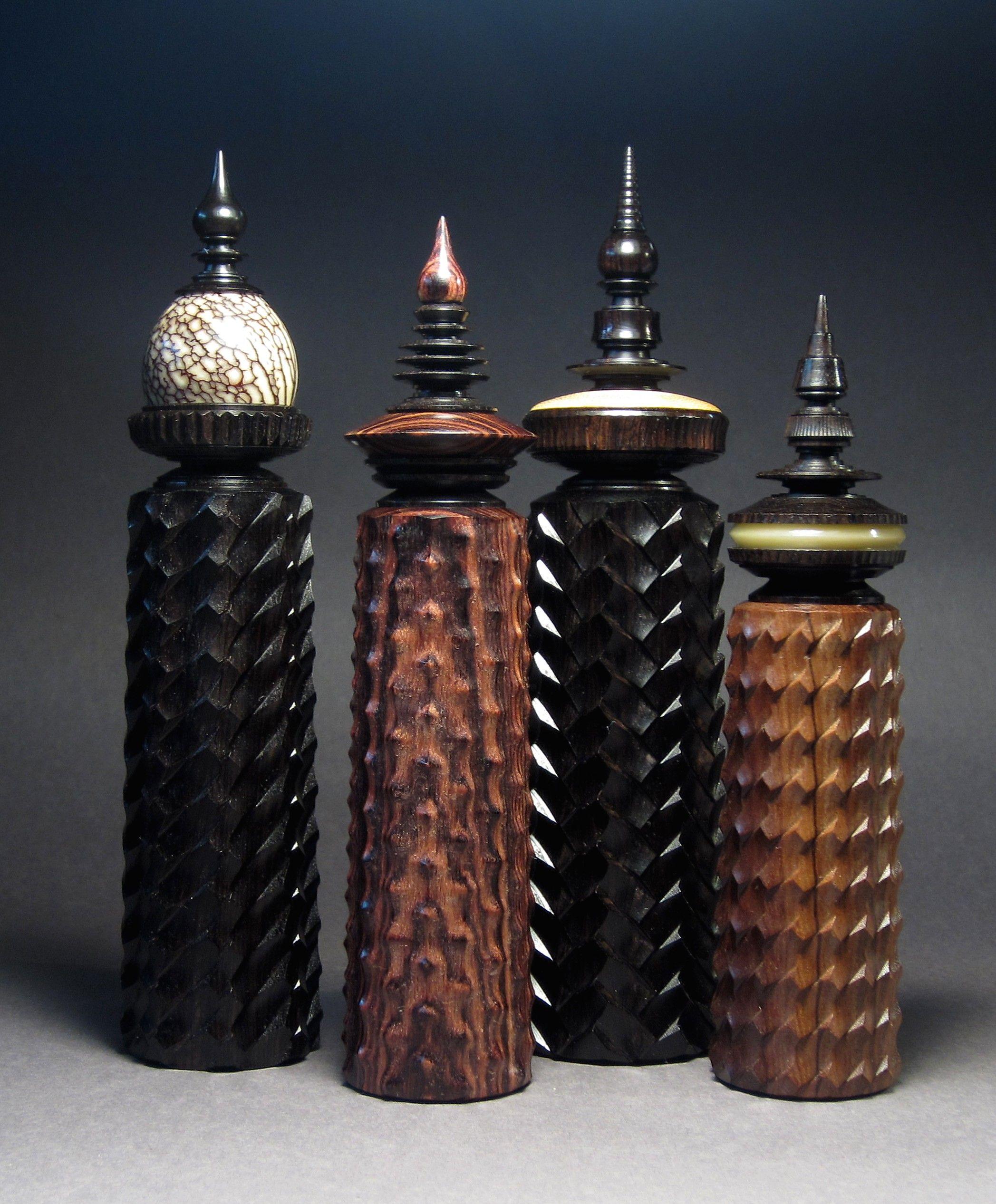 Ornamental bottles - 4 Ornamental Turned Bottles By Jon Sauer Js
