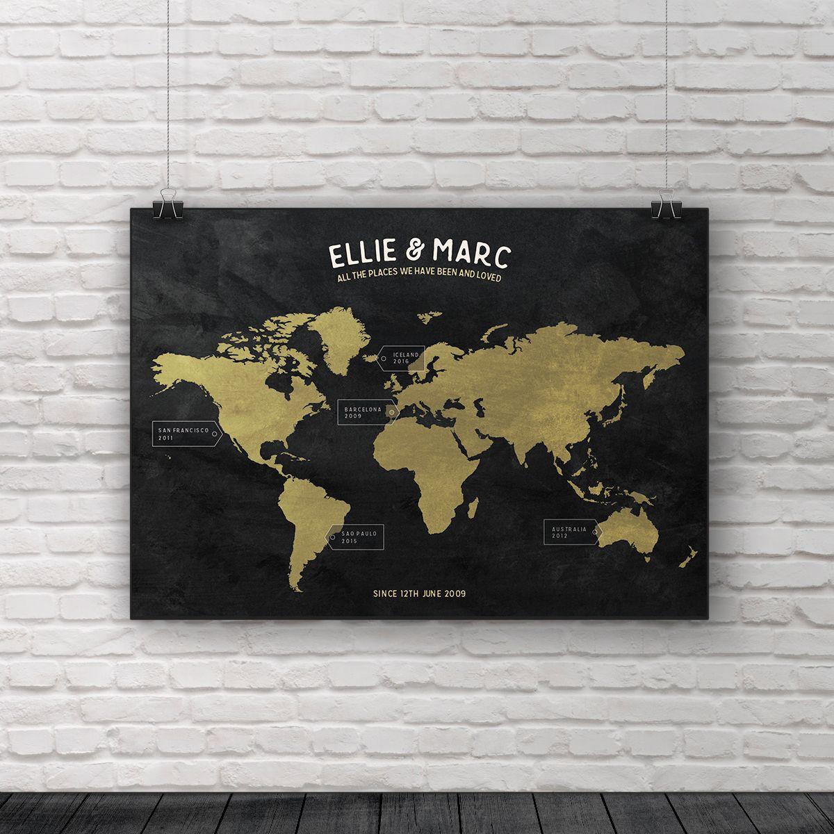 Travel map world map 1st anniversary gift personalised map 40th travel map world map 1st anniversary gift personalised map 40th birthday gift gumiabroncs Choice Image