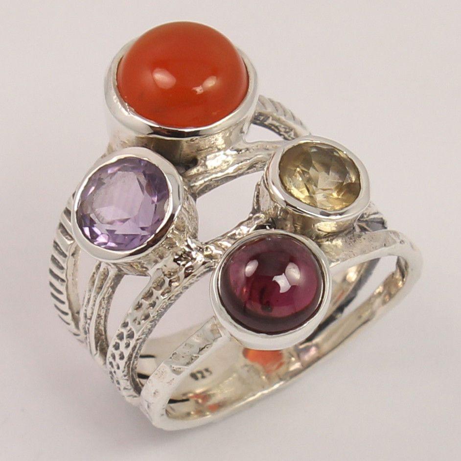 925 Sterling Silver Natural GARNET & Other Gemstones Fabulous Ring Size US 5.75 #Unbranded