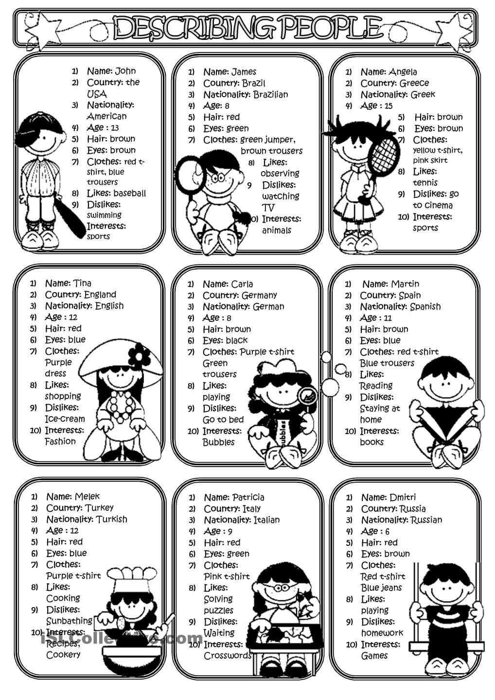 Describing People 2 English Activities For Kids Reading Comprehension Passages Learn English Vocabulary [ 1440 x 1018 Pixel ]