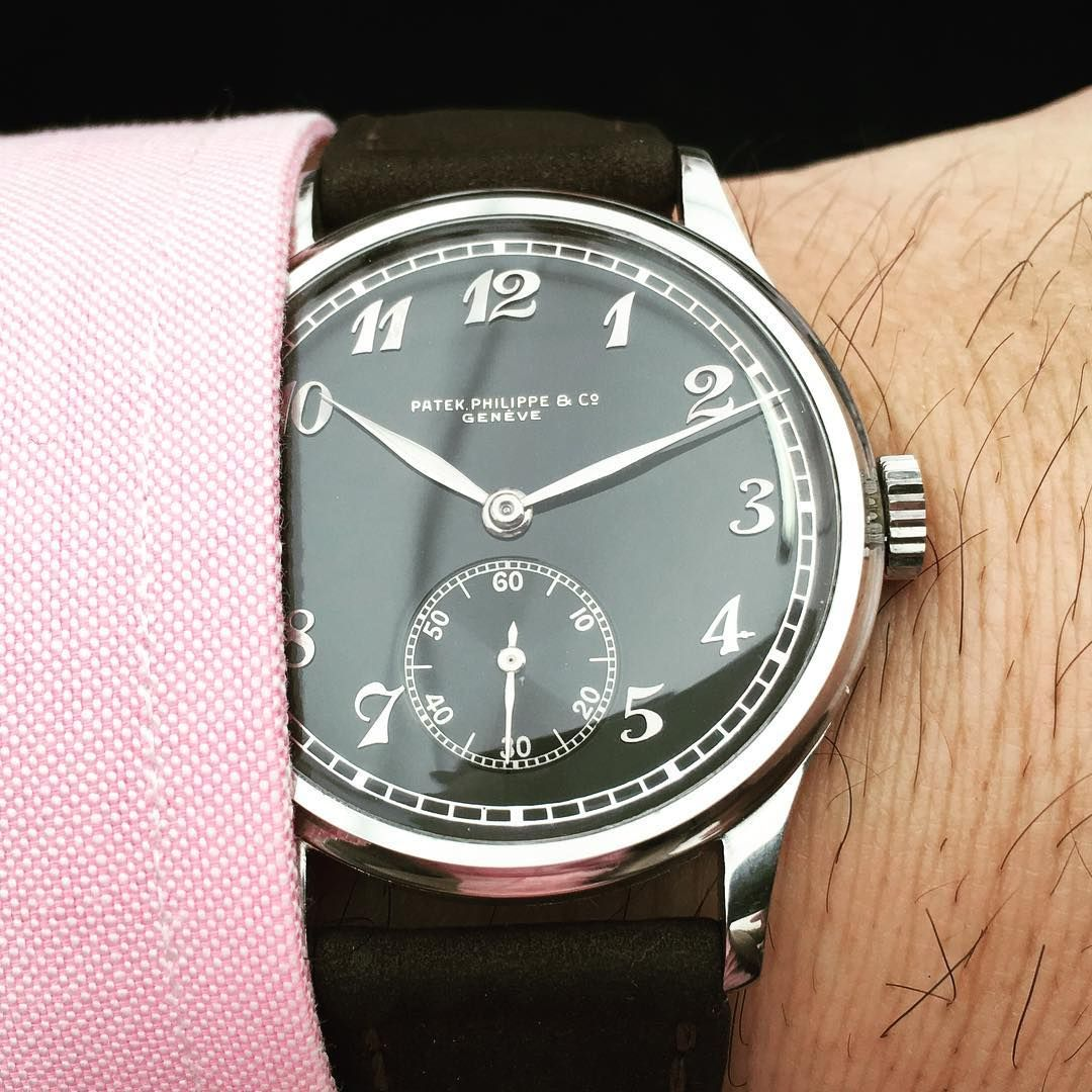 708db34d321f A incredible rare large Calatrava Ref.533 with black dial Breguet numerals  by PHILIPPS Auction