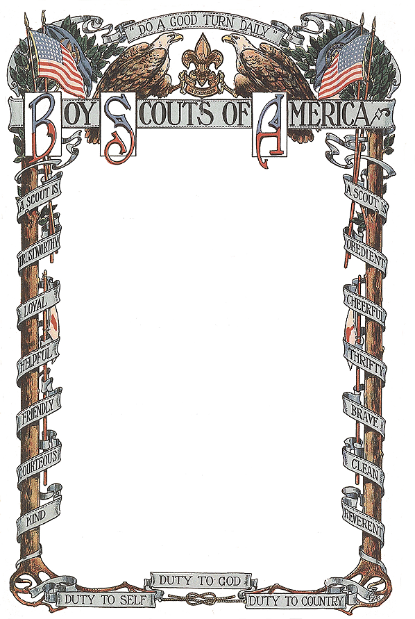 Colorized Early Bsa Scrollwork Maybe For A Certificate From The