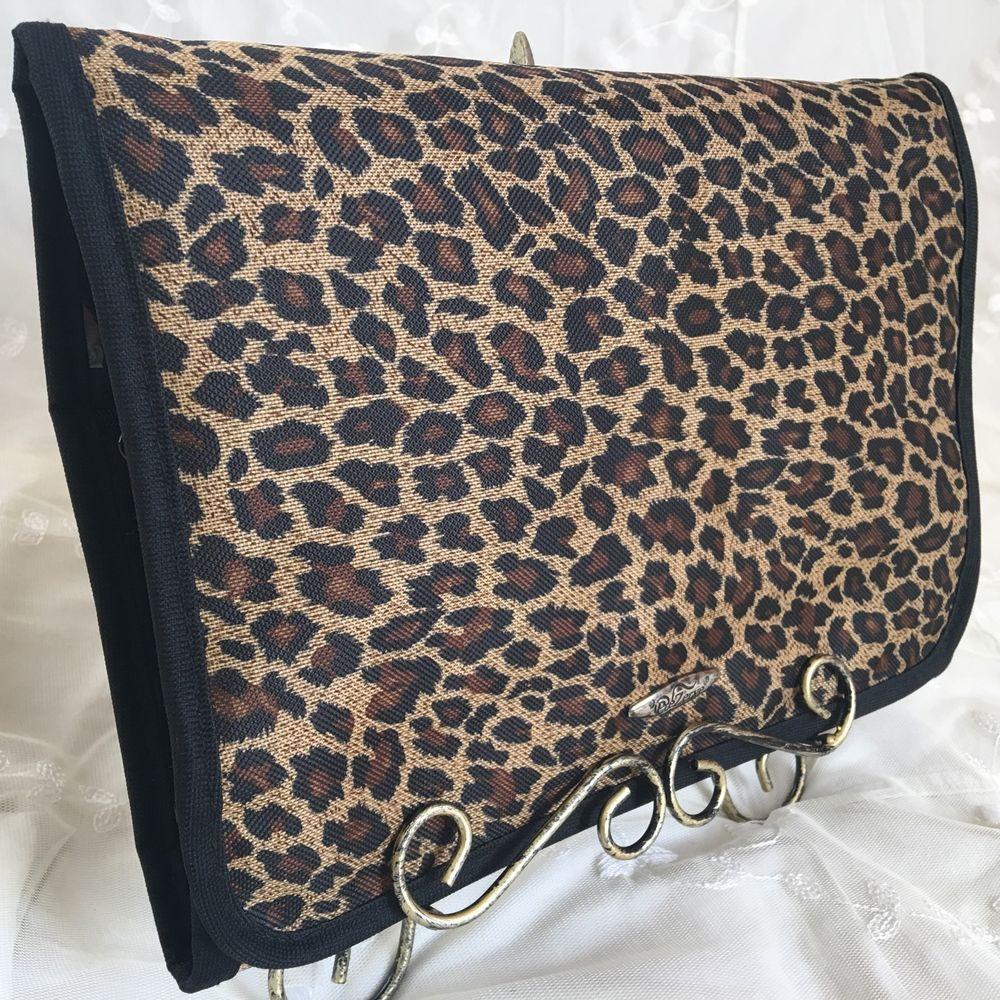PreZerve Jewelry Organizer Leopard Storage Travel Zip Trifold Pouch