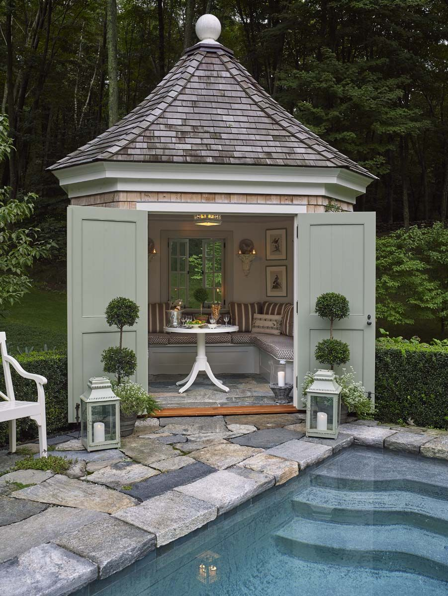 A Connecticut Cottage Decorated By Cathy Kincaid Katie Considers Small Pool Houses Pool Houses Pool House