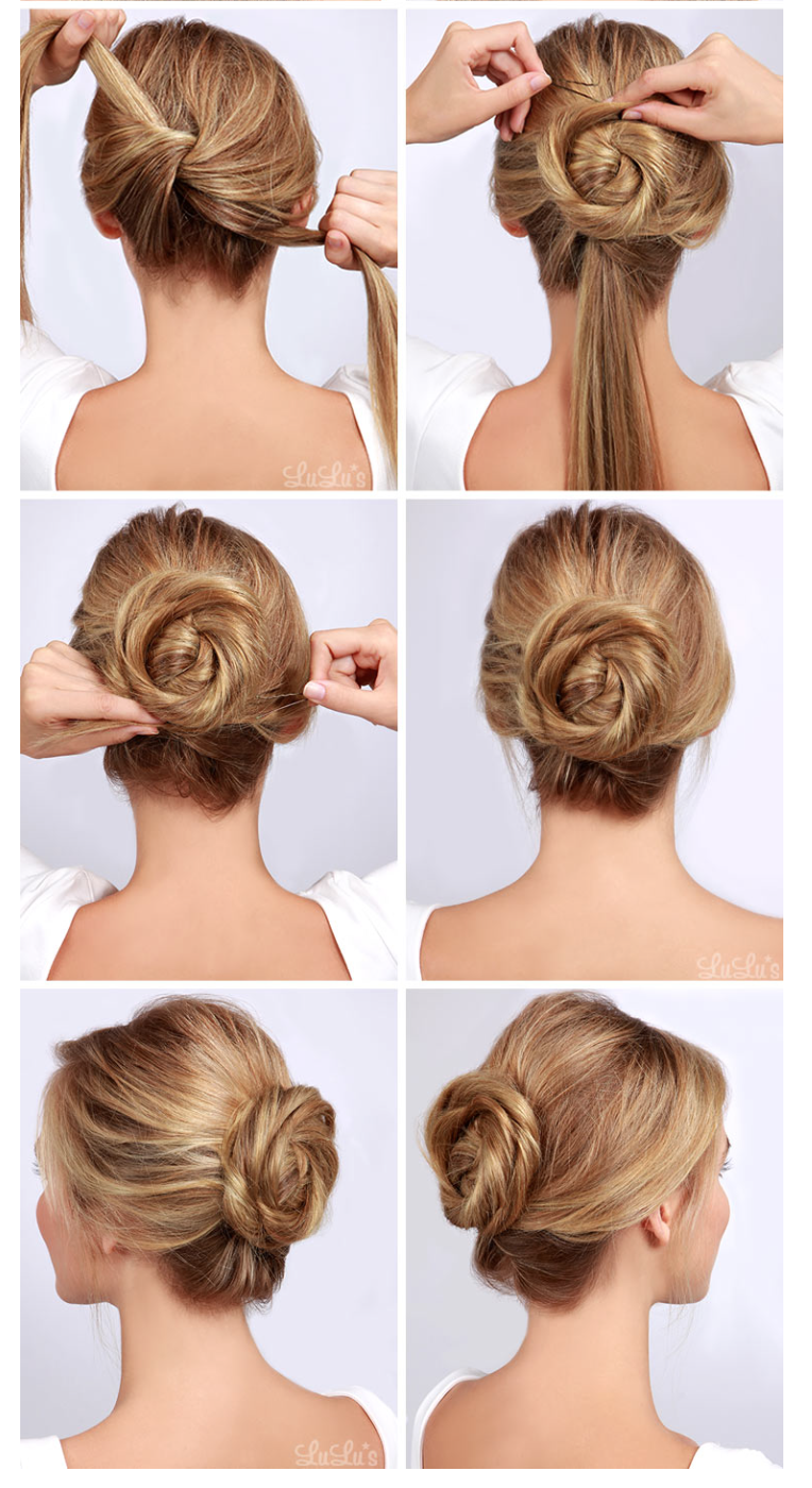 twisted bun: for volume on top, start with backcombed hair