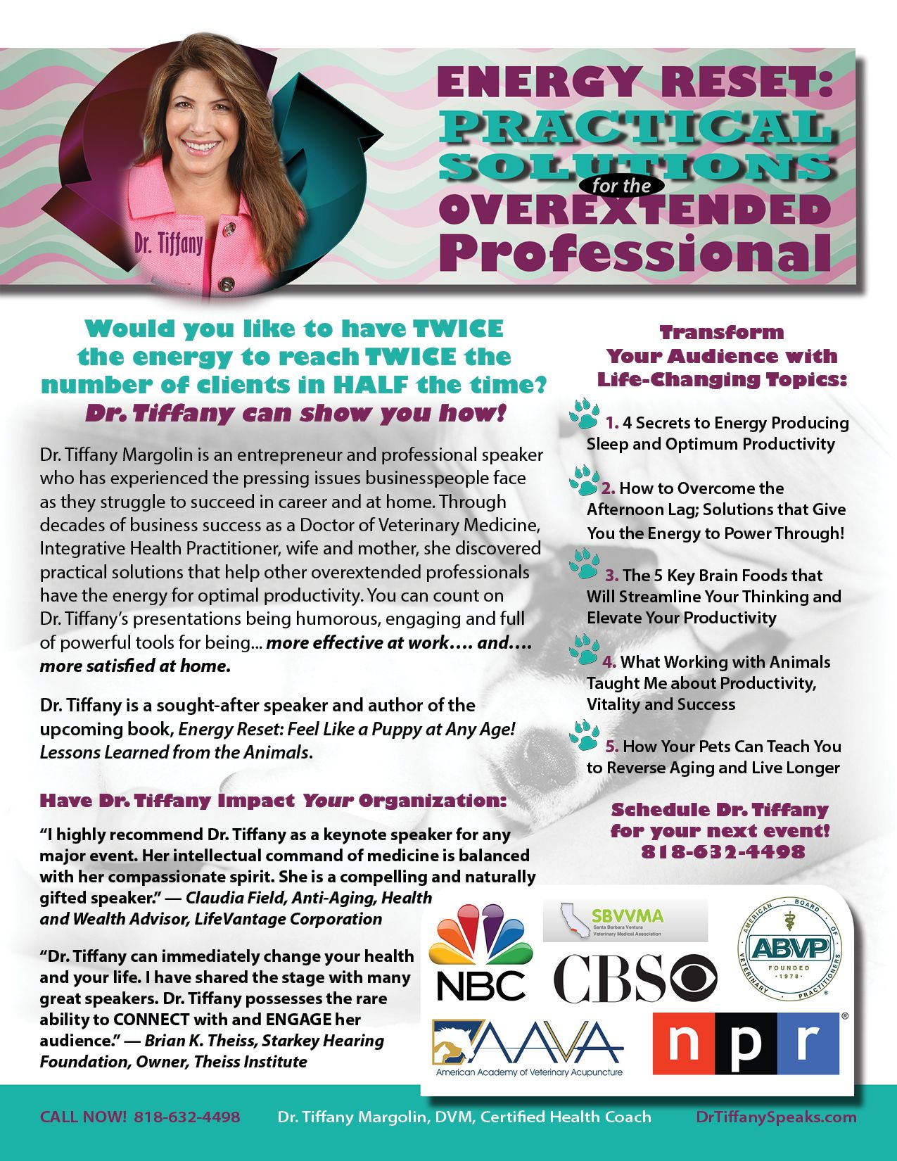 Dr. Tiffany Margolin One Sheet Sample www.authoronesheets.com All ...