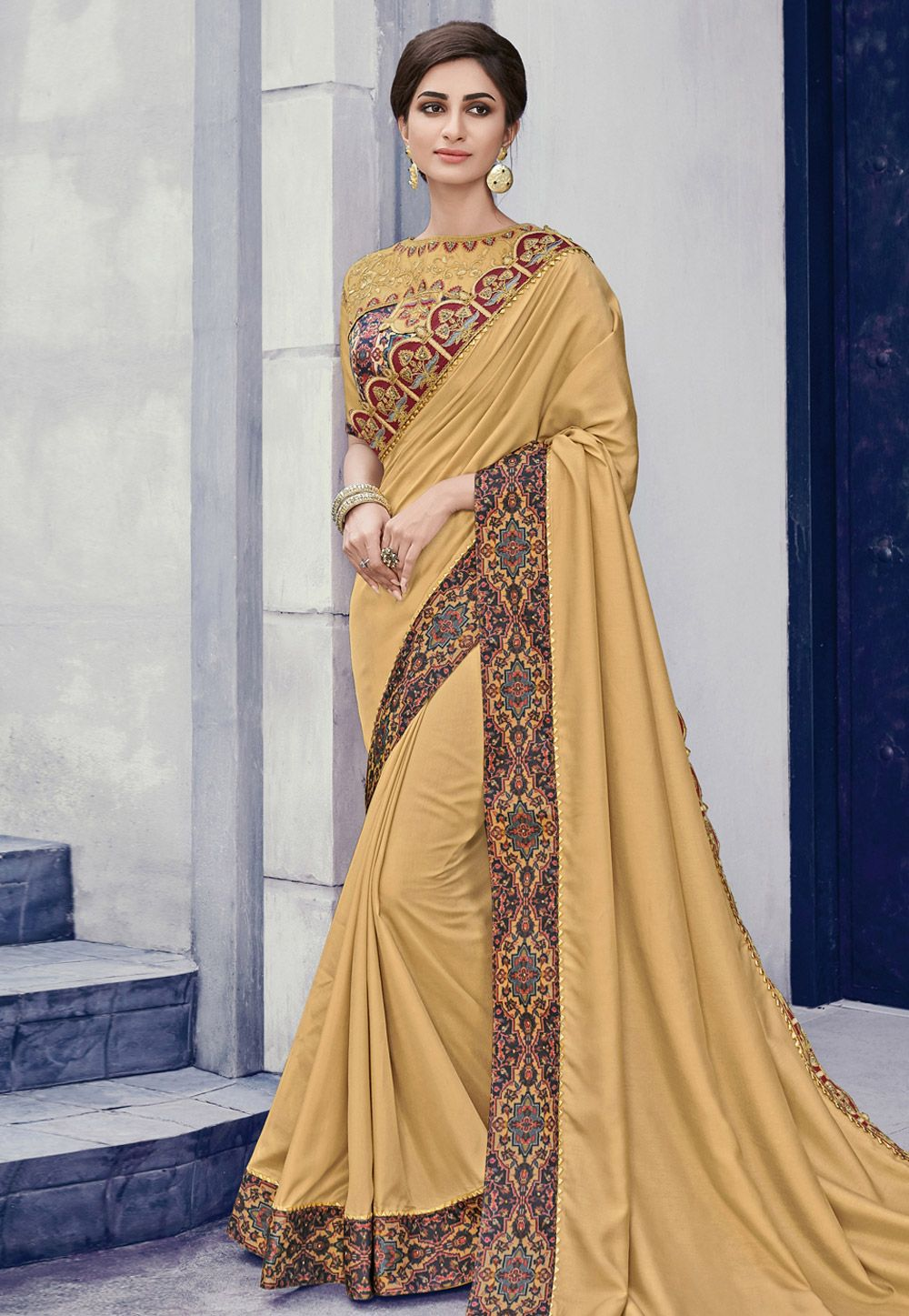 714909dc0f Buy Beige Silk Saree With Blouse 166305 with blouse online at lowest price  from vast collection of sarees at Indianclothstore.com.