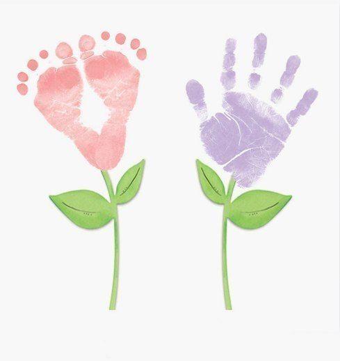 Handprint And Footprint Painting Baby Footprint Art Footprint Art Footprint Keepsake