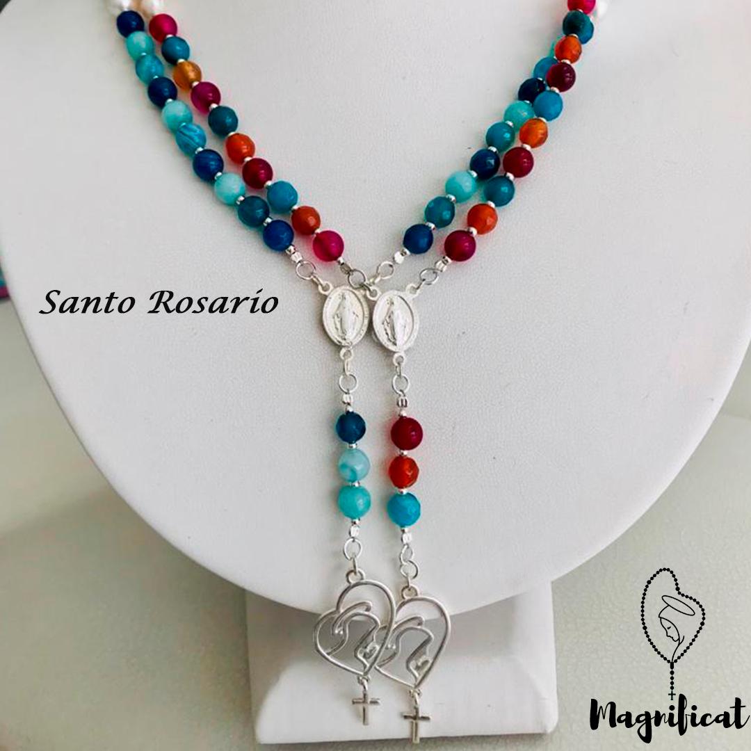 955a96fdff20 Rosario con piedras ágata separado por perlas y accesorios en plata ...