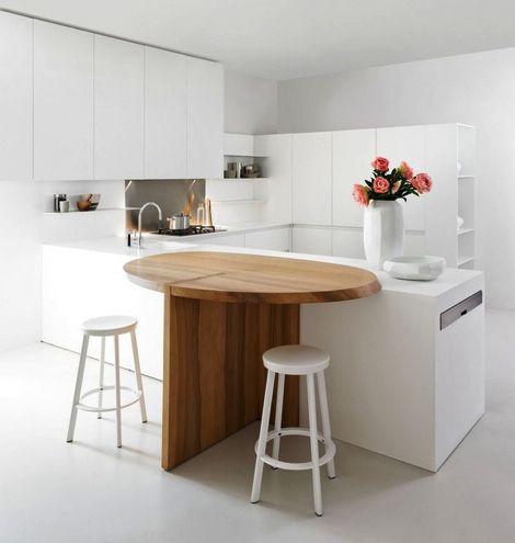 Cocina minimalista blanca en forma de u, armarios sin tiradores ...